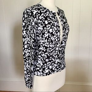 Black & White Cardigan Sweater Karen Scott Petite